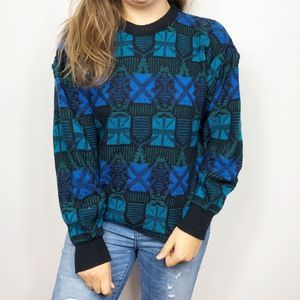 VINTAGE | Blue Funky Geometric Grandpa Sweater